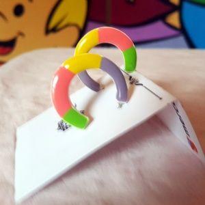 Painted Porcelain C Hoop Artisan Post Earrings